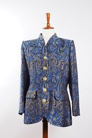 YSL Yves Saint Laurent Variations Vintage Blue Gold Blazer Jacket F44 US12 #W1