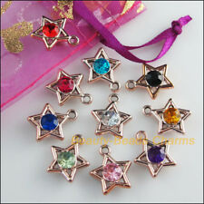 10Pcs KC Gold Plated Mixed Acrylic UV Stars Charms Pendants 15x17mm