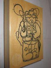 DarciesCountry Folk S1164 Mounted Rubber Stamp, Fishing Bear