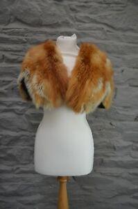100% Real Red Fox Fur Vintage Fur Shrug Jacket Bolero  10 12 14