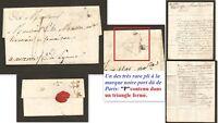 """Lettre 1817 marque noire départ Paris """"P"""" triangle fermé (et à l'envers) Rare"""