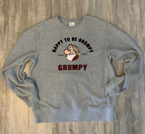 "Vintage Disney Grumpy ""Happy To Be Grumpy"" Grey Sweatshirt Size M Disney Store C"