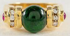 GREEN TOURMALINE DIAMONDS 14K Yellow Gold Ring