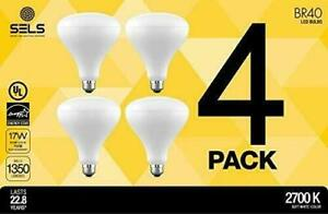 SELS LED BR40 Recessed Non-DImmable White Indoor Outdoor Floodlight Bulb, 4 Pack