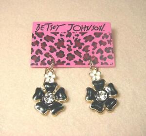Betsey Johnson Black White Flower Dangle Crystal Leverback Pierced Earrings