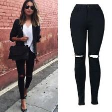 Women Slim Ripped Knee Cut Skinny Pencil Trousers Long Jeans Pants US Stock S