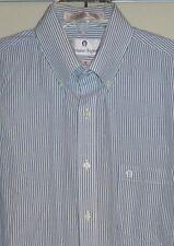 ETIENNE AIGNER - BLUE STRIPE LS COTTON-BLEND DRESS SHIRT - MENS 16/32-33