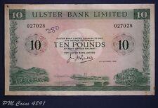 1966 Ulster Bank, Ten pound, £10 banknote, No prefix RARE pen mark *[4891]