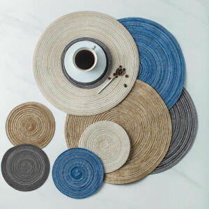Set of 4 Round Woven Placemat Dining Table Mats Non Slip Washable Kitchen Decor