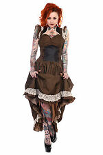 Banned Apparel unique marron Gothique Steampunk Robe Victorienne Amazing longue bnwt L