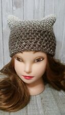 Chunky hat kitty pussy cat ears crochet woman's Mocha soft brown hand made new
