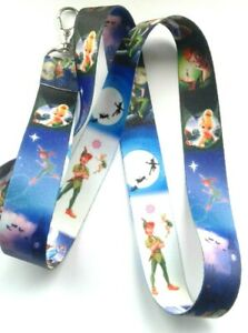 PETER PAN TINKERBELL FAIRY CHARACTERS LANYARD NECK STRAP ID TAG HOLDER