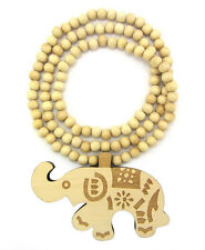 "WOODEN ELEPHANT PENDANT PIECE & 36"" CHAIN BEAD NECKLACE GOOD WOOD STYLE"