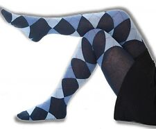 Strumpfhose blau Raute Baumwolle 36 rot hellblau marine Strümpfe Damen