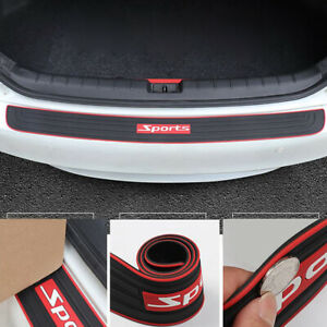 Universal Car Rear Guard Bumper Scratch Protector Cover Rubber Red Sport Logo X