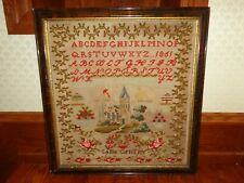 "Antique 1865 Yarn on Cloth Needlework Alphabet Sampler by ""Sallie Griffith"""