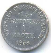 Poland under Russia Silver 15 Kopeks 1 Zloty 1836 NG VF