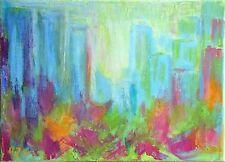 """TABLEAU ABSTRAIT SUR TOILE peinture originale signée HZEN, """"AU PARC"""" 22x16 cm"""