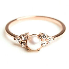 Gold / Silver Natural Gemstone Pearl Ring Filled Wedding Rings Band Size6-10 ER