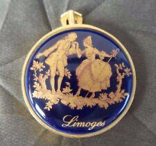 Vintage ARCANE Hand Painted Limoges Porcelain Pendant Victorian Gold Plate Steel