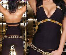 SeXy Miss Damen Neck V Top Pailletten Steine Glamour Look 34/36/38 schwarz gold