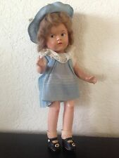 "Vintage SHIRLEY TEMPLE? COMPOSITION DOLL 13-1/2"" Blue Dress Hat Shoes"