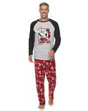 New Men's Disney Mickey Mouse Fleece Pajama Sleep Set. Sz XLT