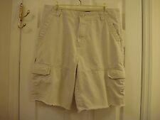 Bugle Boy Flat Front Light Beige Khaki Cargo Shorts Men's Size 34