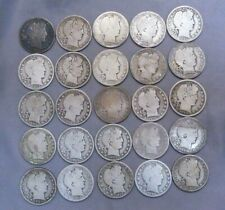 Lot of 25 US Silver Barber Half Dollars | 1898 - 1915