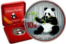 2017 30g Silver CHINESE PANDA Colorized - ANTIQUE FINISH Coin.