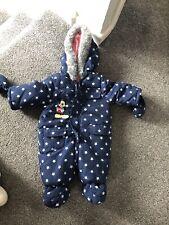 Disney Blue Mickey Mouse Snowsuit Age 0-3 Months