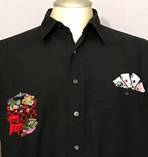 Men Poker Shirt L Black Embroidered Gamble Las Vegas Cards Fine Line  Button Up