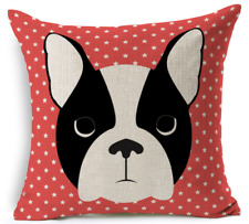 "Boston Terrier Cushion Cover Dog Lover Gift Pillow Pet Decor Birthday 45cm(18"")"