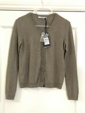 LIU JO Women's Cardigan Sweater top front decor Natural brown Size XS UK 6/8 NEW