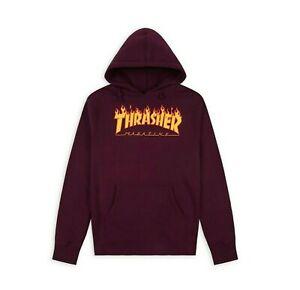 Thrasher FLAME LOGO HOODIE Maroon Yellow Orange Print Pullover Men's Sweatshirt