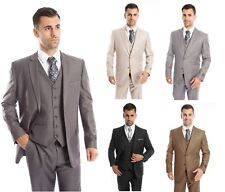 Men's Three Piece Vested Suit Modern Fit Two Button Formal Solid Dress Suits Set