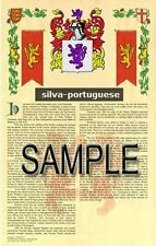 SILVA Armorial Name History - Coat of Arms - Family Crest GIFT! 11x17