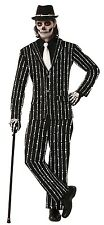 Mens Black White Skeleton Pinstripe Halloween Fancy Dress Costume Outfit Suit