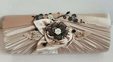 Mother of the bride champagne & black clutch bag, satin,hand decorated,ONE ONLY