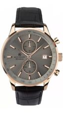Accurist Men's Grey Dial Black Leather Strap Watch 7228 New With Box