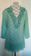 SIZE 16 GREEN TOP SILKY FEEL THREE QUARTER SLEEVE