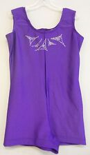 PURPLE LYCRA+RINESTONE BIKETARD/LEO DANCE GYMNASTIC SKATE COSTUME-Size CHILD-XL