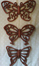 Home Interior Brown Butterfly Wall Accent Plaques - Set of 3