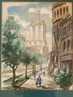 CHICAGO WATERCOLOR Original Art WPA Era MCM Modernism MARSHALL FIELD CO. Signed