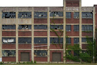 #102 HO scale background building flat ABANDONED FACTORY #2  *FREE SHIPPING*