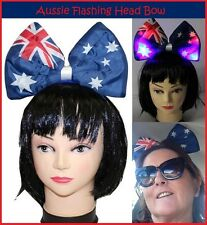 AUSSIE Flashing JUMBO BOW HEADBAND Australia Commonwealth Olympic Costume Party