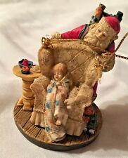 "Multi 2 1/4"" Norman Rockwell Santa with Child in Chair Ornament Figurine"