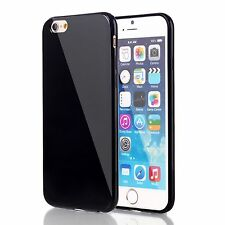 Premium Slim Black Glossy Soft Hard Plastic Metallic Back Case Skin For iPhone 6