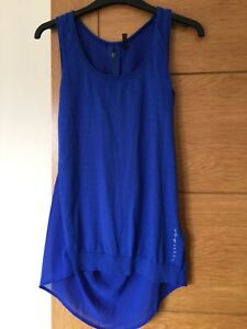 GUESS Blue Vest Top Zipped Back Size Small UK 6 Scoop Neck