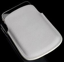Elegante estuche de cuero blanco para Samsung Jet s8000 bolsa
